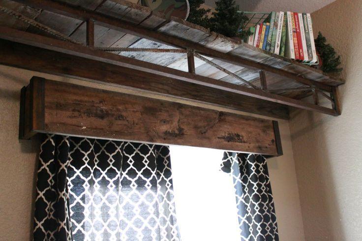 wooden valance + built in shelf up above
