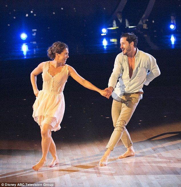 Weather is good: Ginger Zee and partner Valentin Chmerkovskiy opened up the night with a score of 21