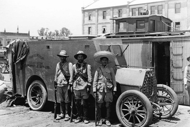 August of 1914, a Constitutionalist armored car and its crew pose in Mexico City, as Carranza's forces move in following the ouster of Pres. Huerta. Their stay would last only a few short months, driven out before the end of the year after Pancho Villa and Emiliano Zapata broke with Carranza, and marched their Conventionist forces into the city that December.