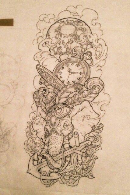 тату эскиз слон часы