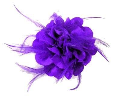 Bloem zijde met veertjes met clip/speld paars