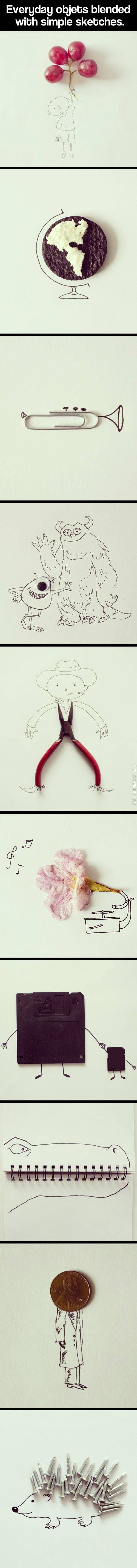 Love this! Incorporating everyday objects into simple sketches.
