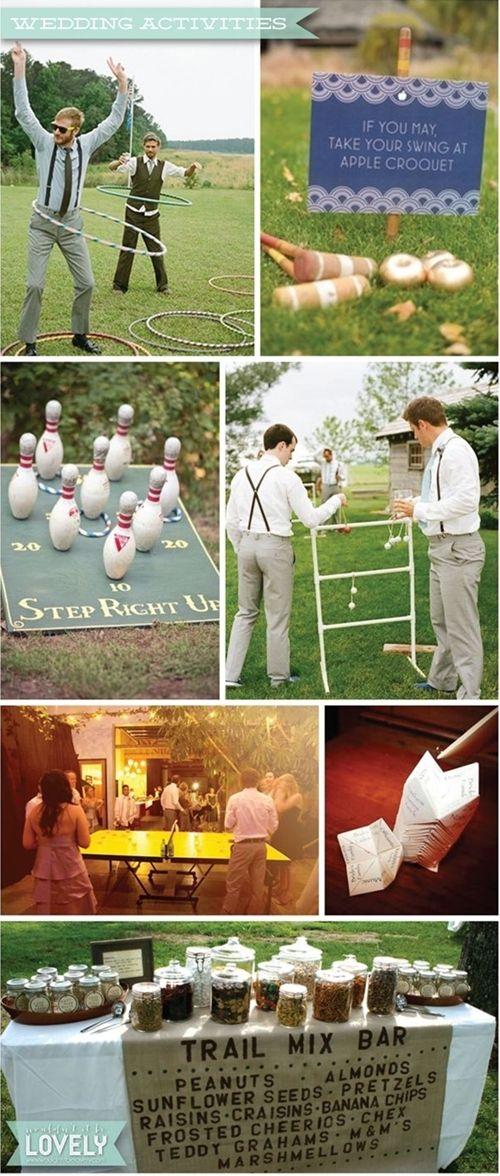 Ideas for wedding games and activities, outdoor games, wedding fun, reception lawn games