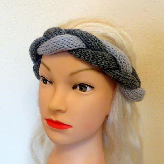 Braided Headband/Gray braided headband/knitted headband/Merino