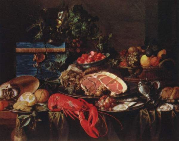 Jan Davidszoon de Heem, Still Life with Fruit and Ham, 1648-49 During the Dutch Baroque era in the 17th century, still life paintings were used kind of like how rappers use boast songs today — to demonstrate wealth, a form of over-the-top brag. Thus the crazy level of detail, the opulence, and the sensuality of paintings like de Heem's depiction of sliced ham, lobster, peeled lemon, and a feast of other foods. Check out the shine on those bowls!