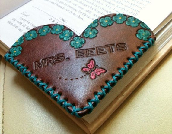 Painted Leather Corner Bookmark - Heart Shape - Custom via Etsy