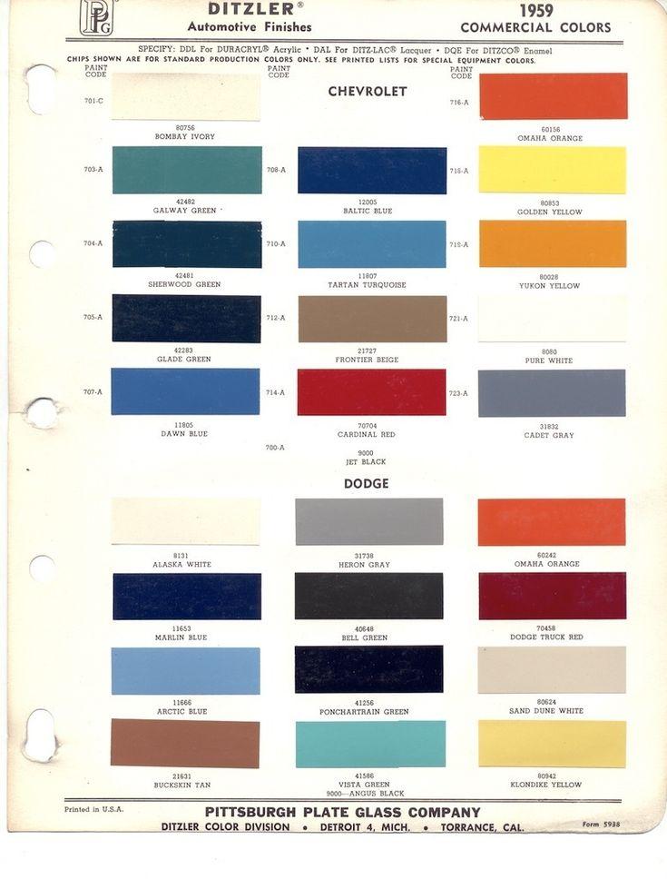 ppg automotive paint color chips do color schemes GM Interior Color Chart General Motors Paint Colors