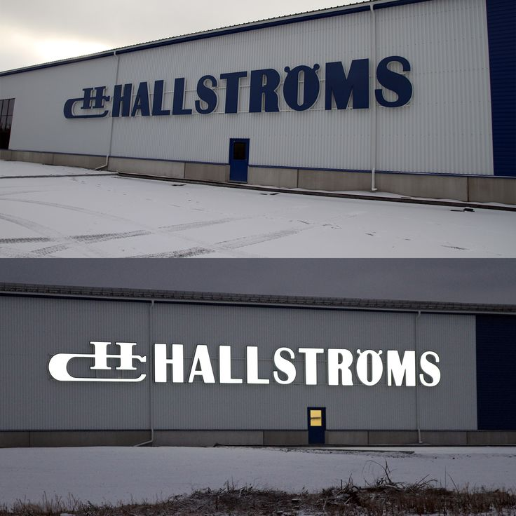 Hallströms Corporate Signage Fascia Channel Letters Blue/white Day and Night Effect
