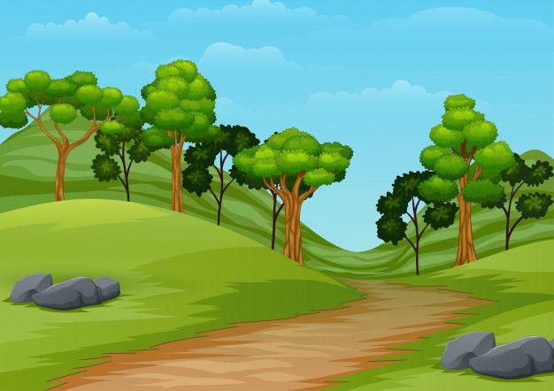 Cartoon Summer Landscape With Road Trail Premium Vector Freepik Vector Background Summer Landscape Landscape Cartoon Background