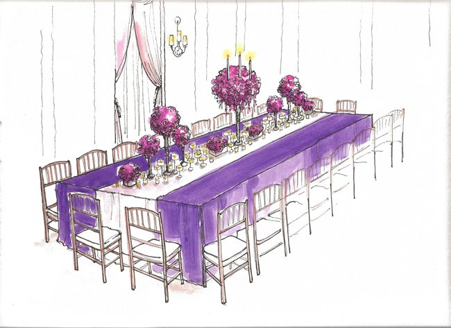 Sketch of yummy purple and magenta wedding. #weddingdesign #wedding #purple