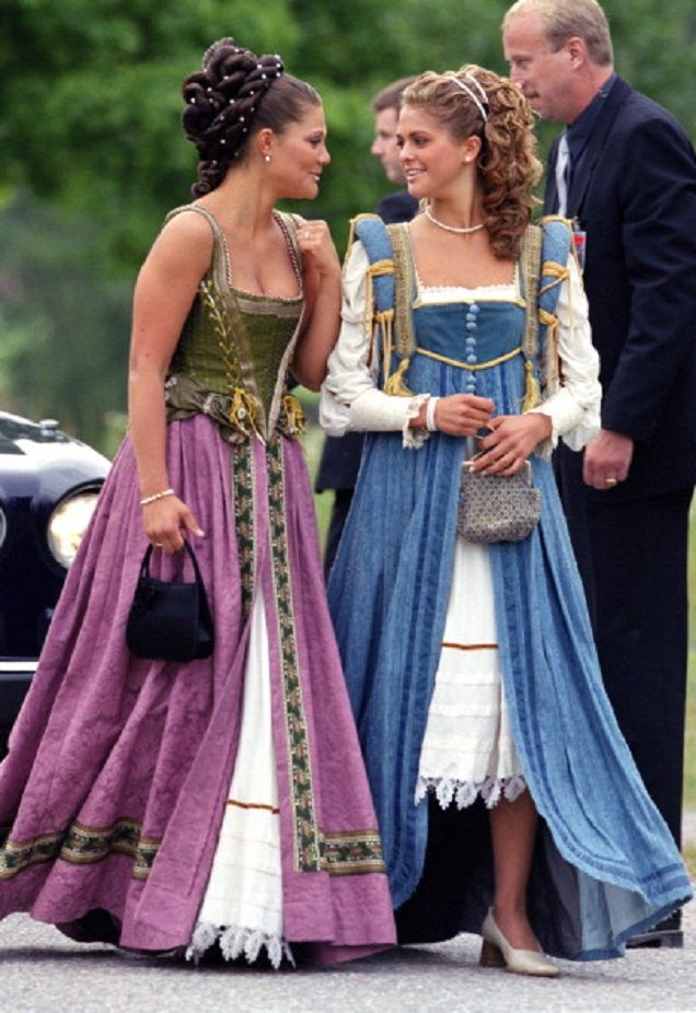 (L-R) Swedish Crown Princess Victoria & Princess Madeleine Attend A Performance At Gripsholm Castle During The Celebrations For King Carl Gustav & Queen Silvia Of Sweden'S 25Th Wedding Anniversary on 18.06.2001