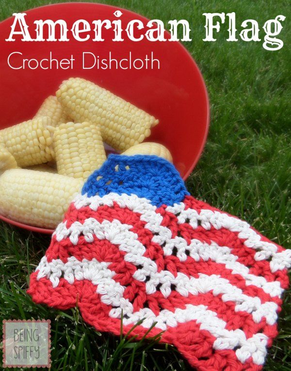 Crochet patriotic style dishcloth from the Being Spiffy blog in Kitchen Cotton yarn