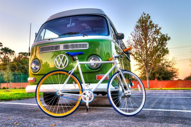 both are lovely: Fixie, Bicycles, Bike, Cars, Wheels, Retro Bikes, Roads Trips, Photo, Collide Vw Buses