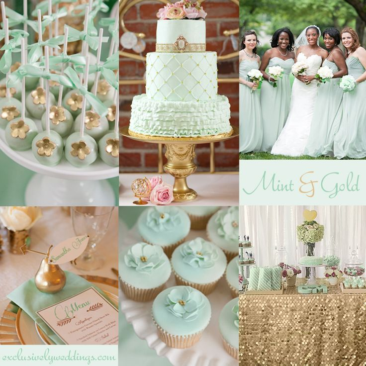 "Mint and Gold Wedding | ""Add Glamour to Your Wedding  with Gold - 5 Dazzling Combinations"" 