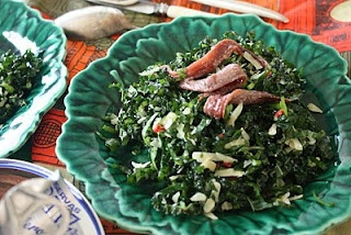 Cavalo Nero salad with Parmesan, Chilli and Anchovies