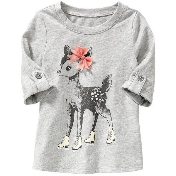 Old Navy Chiffon Bow Graphic Tunic For Baby Size 4T - Gray heather (11 AUD) ❤ liked on Polyvore featuring baby and baby girl clothes