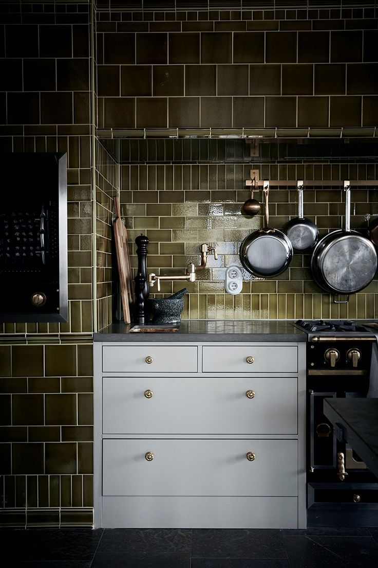 tiled stove niche green kitchen kitchen cabinet design rh pinterest com