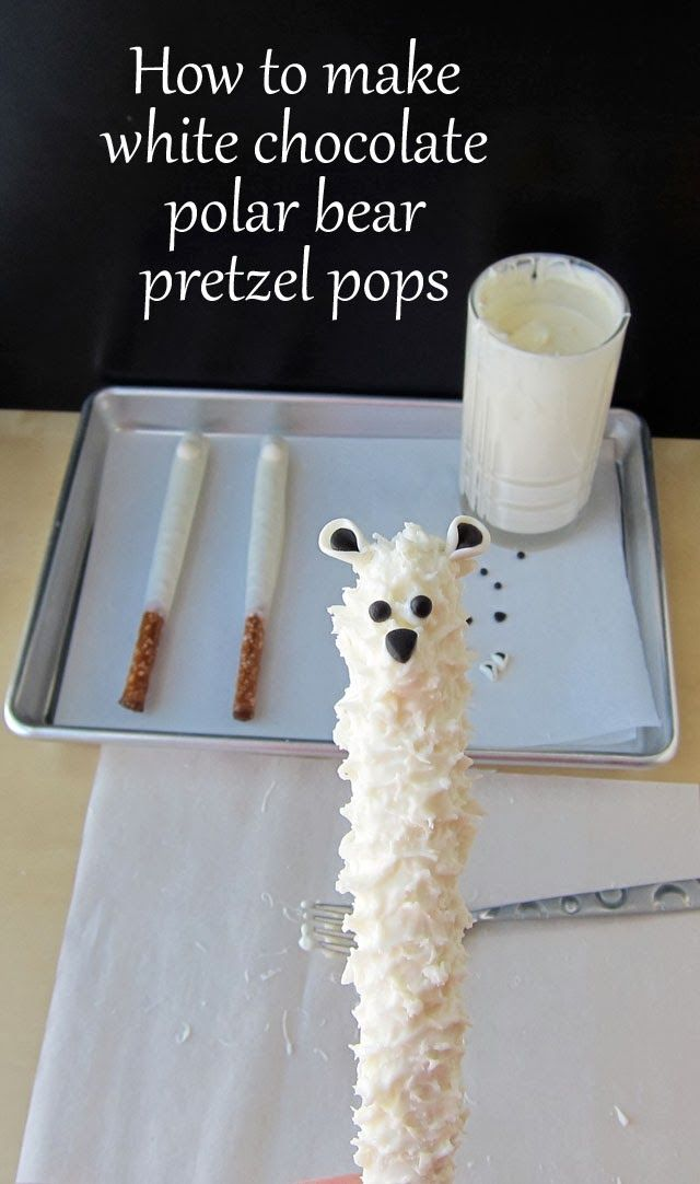White Chocolate Polar Bear Pretzel Pops - so cute :-)  I will probably never make these, but they're still awfully cute.