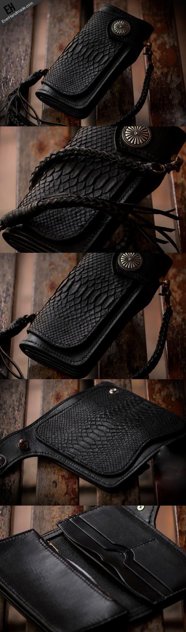 Handmade leather biker chain trucker wallet leather men Black snake skin Tooled wallet