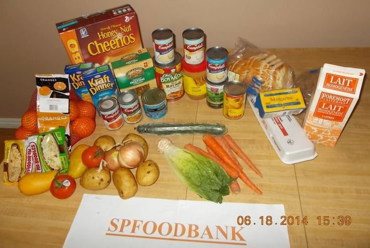 Oranges, Mango's, Onions, Carrots, Lettuce, Potatoes, Cucumber, Margarine, Eggs, Milk, Bread, Canned Fruit, Canned Peas, Canned Soups x5, Peanut Butter, Ravioli, Pasta, Oriental Noodles, Kraft Dinner, Canned Tuna, Cereal....