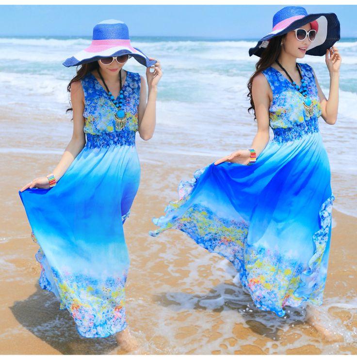 Nieuwe collectie bohemien een stuk jurk bloemenprint Gradient strand zomer maxi lange jurk grote schommel jurk vrouwen 2014 gratis verzending
