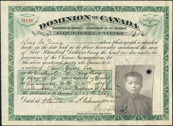 Source: Certificate, 1922. This is a certificate outlining that Chong Do Dang paid $500, a Head Tax placed upon any Chinese immigrant, to the government of Canada in 1922.  Later, on July 1, 1923 the Canadian government established the Chinese Exclusion Act this further prevented any Chinese from immigrating to Canada. This day was referred to 'Humiliation Day' by the Chinese community.