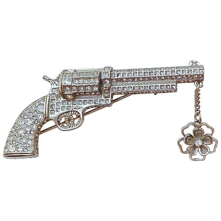 Chanel ✿*゚DALLAS Craftsmanship Gripoix Camellia Jeweled Gun Pistol Brooch…