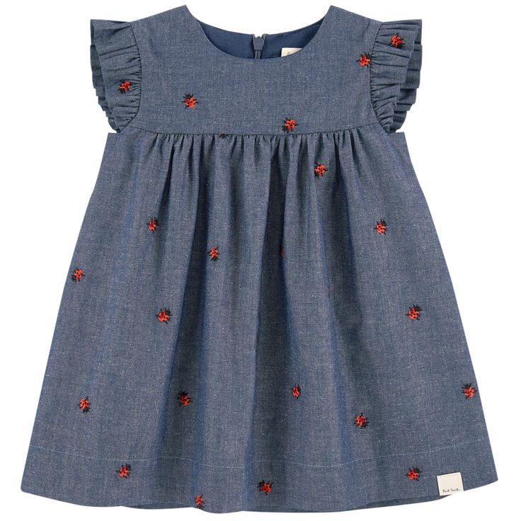 Cotton chambray Voile lining High waist dress Flared hem Crew neck Short sleeves Gathered waistband Invisible zipper at the back Embroideries Brand label on the front - 79,20 €