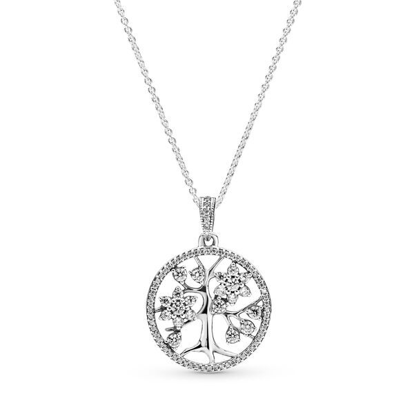 Pandora Sparkling Family Tree Necklace Sterling Silver Clear Sz 80 In 2020 Family Tree Necklace Tree Necklace Sterling Silver Necklace Pendants
