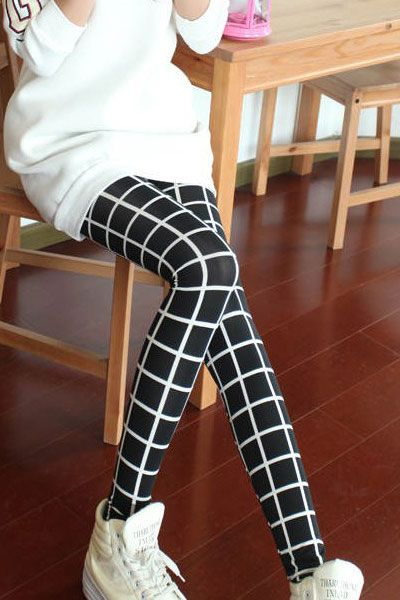 Black Simple Plaid Slim Leggings