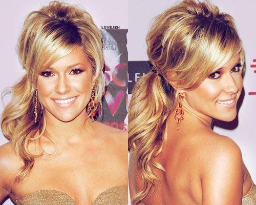 teased/curled ponytail..