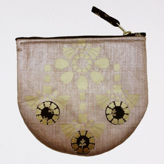 Evening bag. Handmade semi circle golden CLUTCH PURSE with by dAKOTArAEdUST
