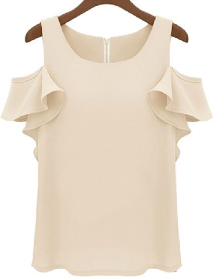Nude Off the Shoulder Ruffle Chiffon Blouse US$19.25