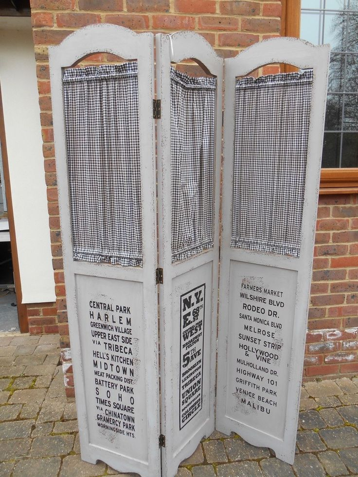 SHABBY CHIC PAINTED 3 PANEL WOOD FOLDING PRIVACY SCREEN ROOM DIVIDER PARTITION | eBay