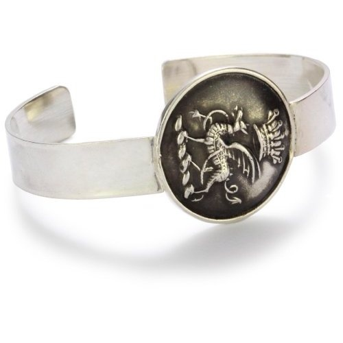 """Pyrrha """"Wax Seals"""" Sterling Silver Gryphon and Crown Livery Cuff Bracelet"""