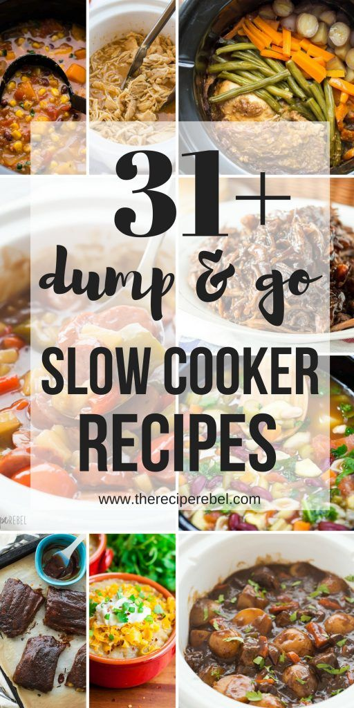 These Dump and Go Slow Cooker Recipes require no cooking or browning beforehand …