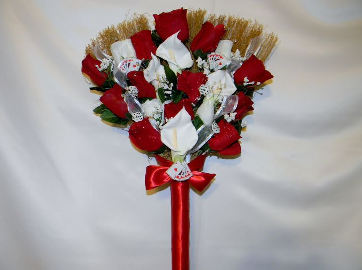pictures of wedding brooms | Wedding Jumping Broom custom made white red black Las Vegas theme ...