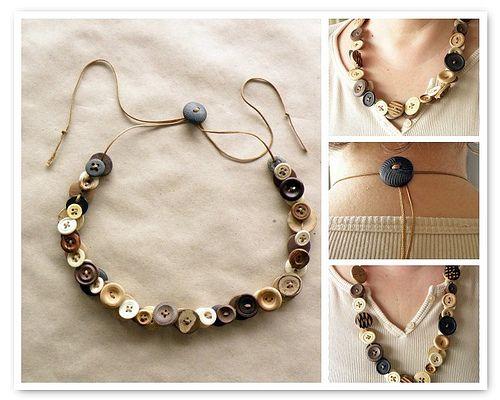 Button necklace: Idea, Craft, Button Necklace, Adjustable Button, Tutorial, Buttons, Jewelry, Necklaces, Diy