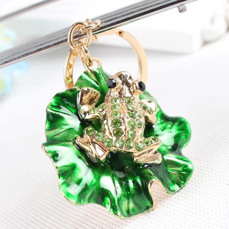 Lovely Frog Green Lotus Leaf Crystal Charm Purse Handbag Car Key Keyring Keychain Party Wedding Birthday Gift