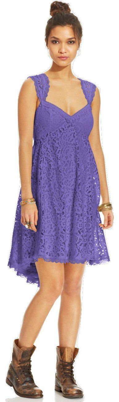"""Free People Creme De Lace Babydoll Dress, Purple Lotus, Size 6. Pretty lace dress with scalloped crochet trimmed straps. Hi-low hem. """"V'-neckline in the front with crochet trimming. Low drop back with pleated detailing at lower back, creating a fan-like design at the back of the skirt. Zips up at lower back. Lined. 58% Cotton, 42% Nylon; Machine Wash Cold; Imported."""