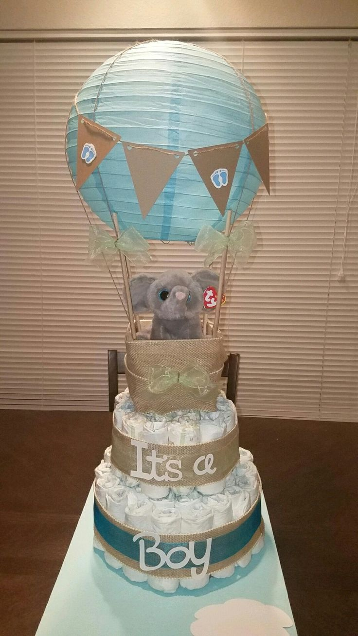 hot air balloon diaper cake baby shower in 2019 diaper cake boy baby shower decorations. Black Bedroom Furniture Sets. Home Design Ideas