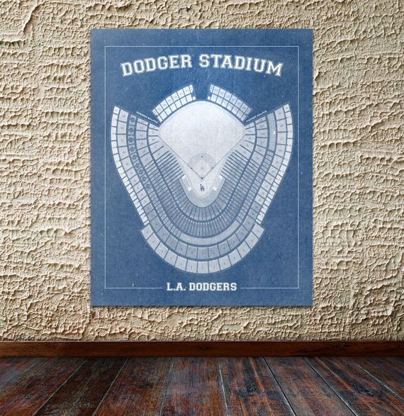 Print of Vintage Los Angeles Dodger Stadium Seating Chart on Photo Paper, Matte paper or Canvas