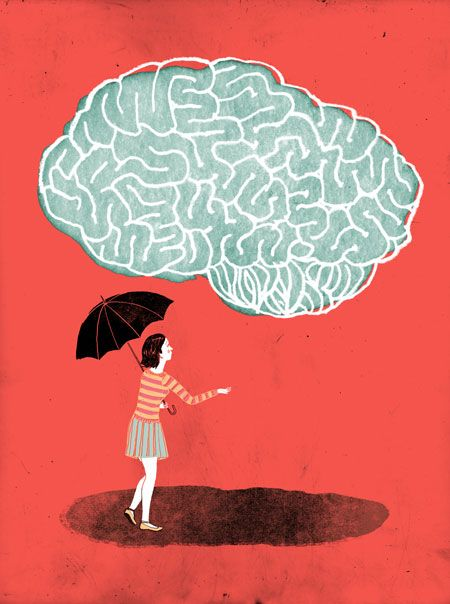 Illustration for an article in the Globe and Mail about a woman who learns to deal with her mental illness.  by Catherine Lepage