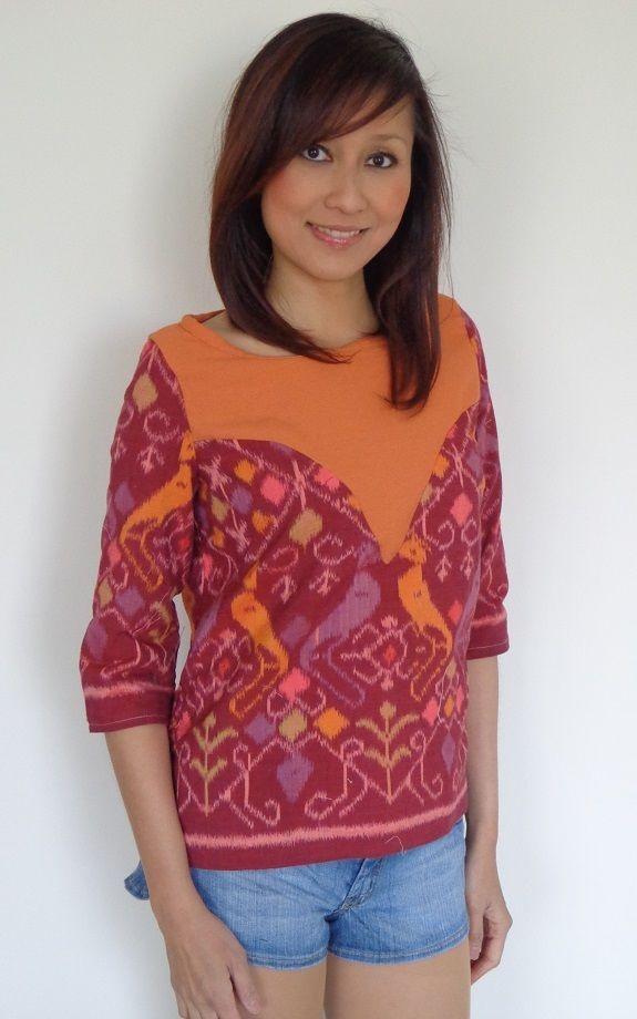 Brown Orange Handmade Ikat Woven Women s Top size 10 - BNWT