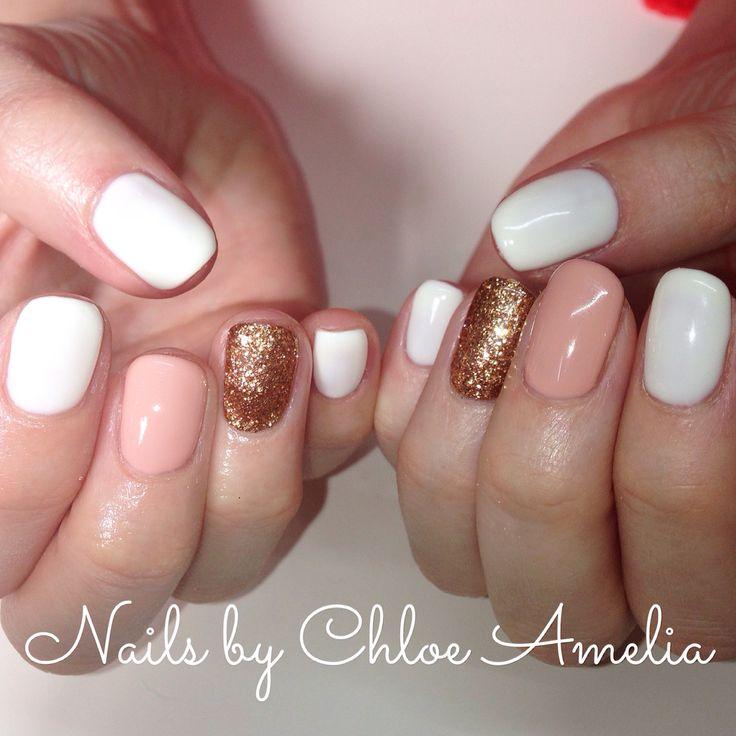Cal Gel Nail: White, Hide And Seek And Rose Gold Glitter Calgel Manicure