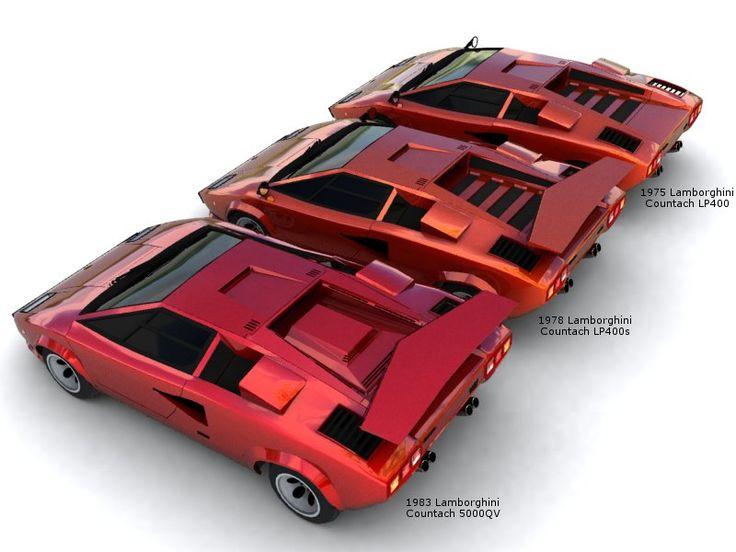 3 differential designs in Lamborghini Countach 1975, 1978, 1983