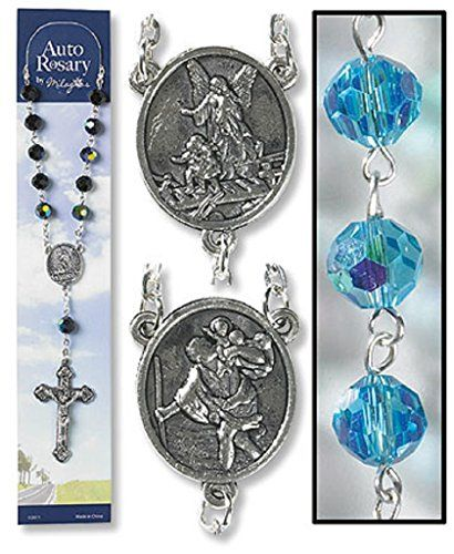 Roman Catholic Church Saint Guardian Angel Aqua Auto Rosary Cars Bikes * Click on the image for additional details.Note:It is affiliate link to Amazon.