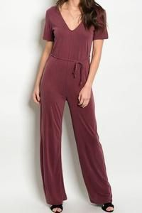 """""""Sidewalk Stroll"""" Jumpsuit - Cranberry www.shopfashionstylist.com stylist code FASHION for free shipping on ALL outfits(dresses, rompers, tops, pants, shorts, jackets) SALE UP TO 50 percent off!! Go before they run out of items"""