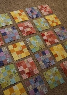 Like how the each block is done in all I color- great scrappy pattern