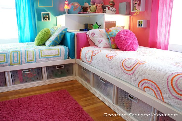 Awesome Corner Twin Beds with Underbed Storage - www.creative-storage-ideas.com